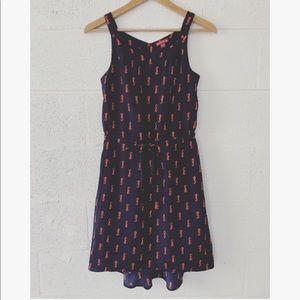 Merona Navy Seahorse print high low dress sz: XS